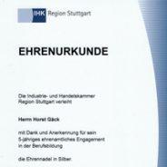 Ehrenurkunde der IHK-Stuttgart verliehen